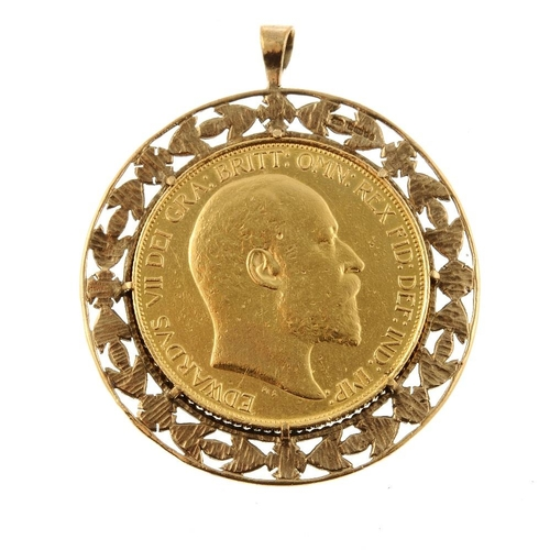 50 - Edward VII, gold Five-Pounds 1902, in a 9ct filigree mount, total wt.47.6g. Very fine.  <br>Very fin...
