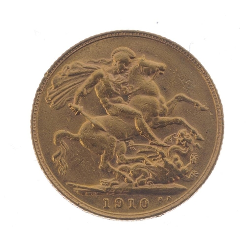 51 - Edward VII, Sovereign 1910. Good very fine.  <br>Good very fine.  <br>...
