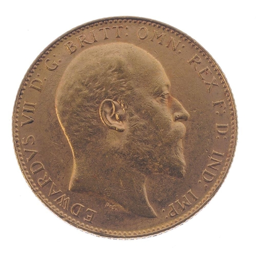 53 - Edward VII, Sovereign 1909P. Good very fine. <br>Good very fine. <br>...