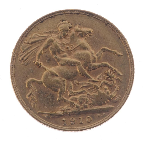 54 - Edward VII, Sovereign 1910. Very fine.  <br>Very fine.  <br>...