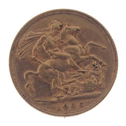 55 - Edward VII, Sovereign 1906. Fine.  <br>Fine.  <br>...