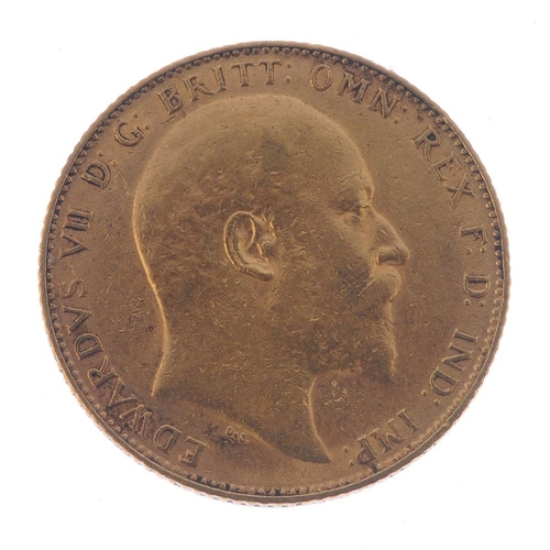 57 - Edward VII, Sovereign 1908. Very fine. <br>Very fine. <br>...