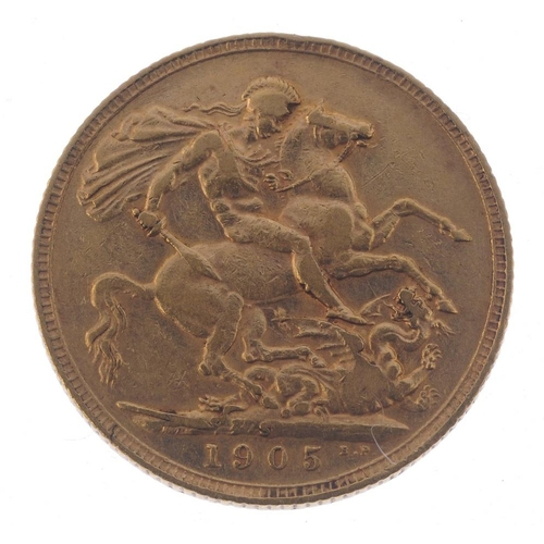 58 - Edward VII, Sovereign 1905S. Almost very fine. <br>Almost very fine. <br>...
