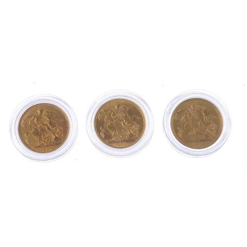 64 - Edward VII, Sovereigns (9), 1902M, 1903M, 1904M, 1905M, 1906M, 1907M, 1908M, 1909M, 1910M, in three ...