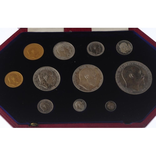 67 - Edward VII, Specimen Set 1902, Matt Proof, silver Maundy Penny to Crown, gold Half-Sovereign and Sov...