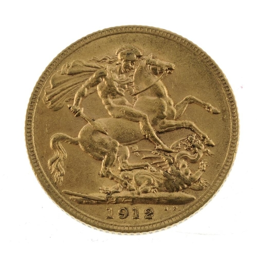 74 - George V, Sovereign 1912. Very fine.  <br>Very fine.  <br>...