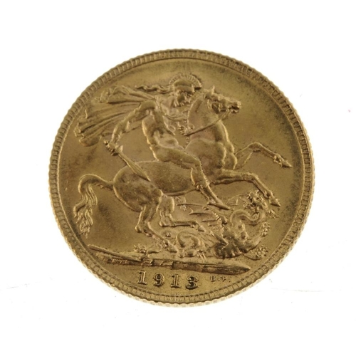 76 - George V, Sovereign 1913. Very fine.  <br>Very fine.  <br>...