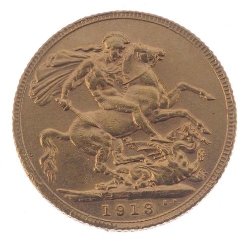 86 - George V, Sovereign 1913. Very fine. <br>Very fine. <br>...