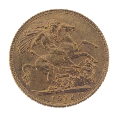 87 - George V, Sovereign 1918I. Very fine.  <br>Very fine.  <br>...