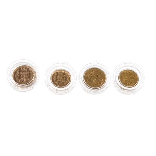 99 - UK, The Golden Jubilee Sovereign Collection 1887-2002, Sovereign (2) 1887M, 2002, Half-Sovereign (2)...