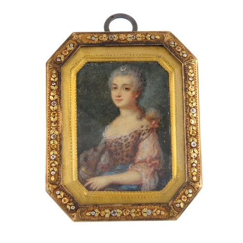123 - A mid 19th century gold and silver portrait miniature pendant. Of cut-corner rectangular outline, th...