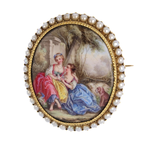 129 - A mid 19th century gold enamel and split pearl brooch. Of oval outline, depicting two women holding ...