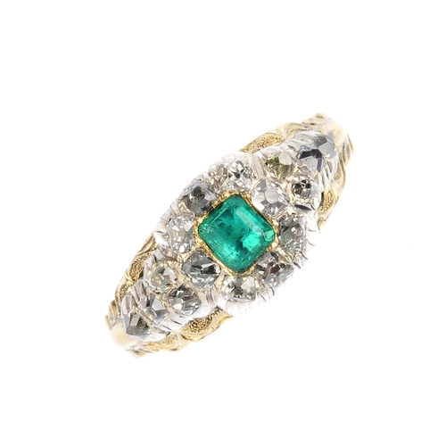 132 - An early Victorian emerald and diamond memorial ring. The square-shape emerald, with old-cut diamond...