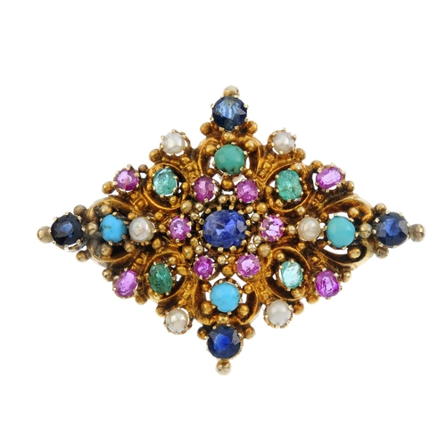 133 - A multi-gem brooch. Of kite-shape outline, the scrolling foliate panel, with central oval-shape sapp...