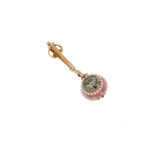 134 - A late Victorian gold, split pearl and enamel fob watch. The pink enamel and split pearl spherical f...