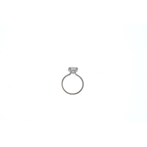 141 - A diamond single-stone ring.  The brilliant-cut diamond, weighing 2.43cts, with brilliant-cut diamon...