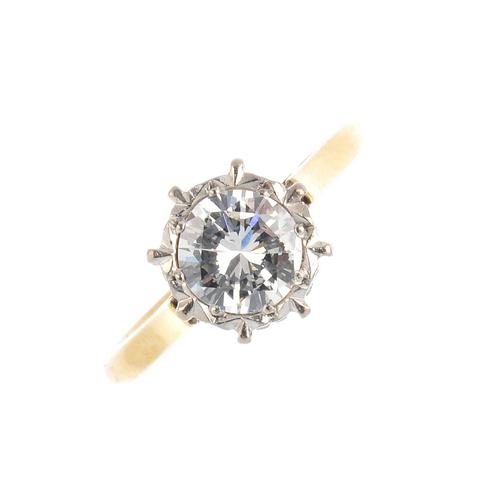 152 - A diamond single-stone ring. The brilliant-cut diamond, with illusion mount. Estimated diamond weigh...