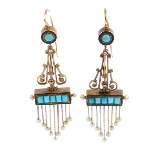 16 - A pair of mid Victorian gold gem-set earrings. Each designed as a seed pearl terminal fringe, suspen...