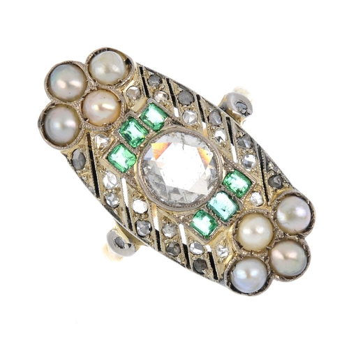 167 - A diamond, split pearl and paste dress ring. Of geometric design, the rose-cut diamond collet, with ...