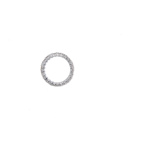 179 - A diamond full eternity ring. Designed as a brilliant-cut diamond line, with grooved sides. Estimate...