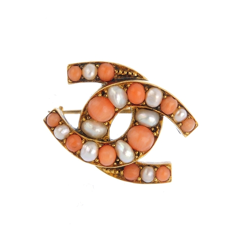18 - A late Victorian gold, coral and split pearl brooch. Comprising two alternating circular-shape coral...