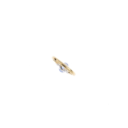 185 - An 18ct gold sapphire and diamond three-stone ring. The oval-shape sapphire, with brilliant-cut diam...
