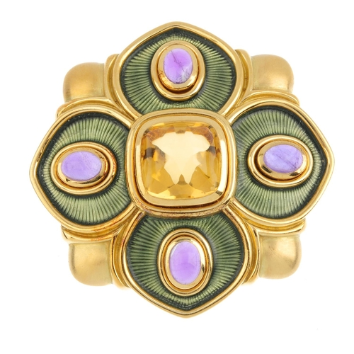 189 - DE VROOMEN - an 18ct gold citrine, amethyst and enamel floral brooch. The sugarloaf citrine cabochon...