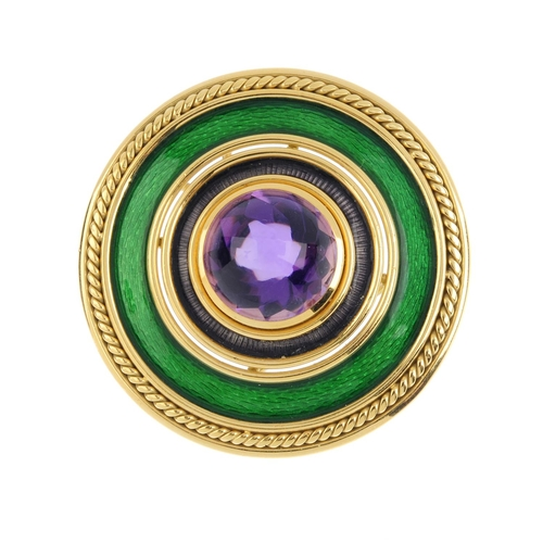 192 - DE VROOMEN - an 18ct gold amethyst and enamel pendant. The circular amethyst cabochon, with purple a...