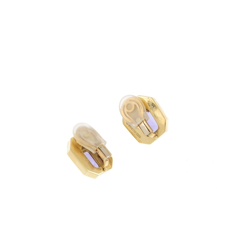 194 - DE VROOMEN - a pair of 18ct gold amethyst and enamel earrings. Each designed as a rectangular-shape ...