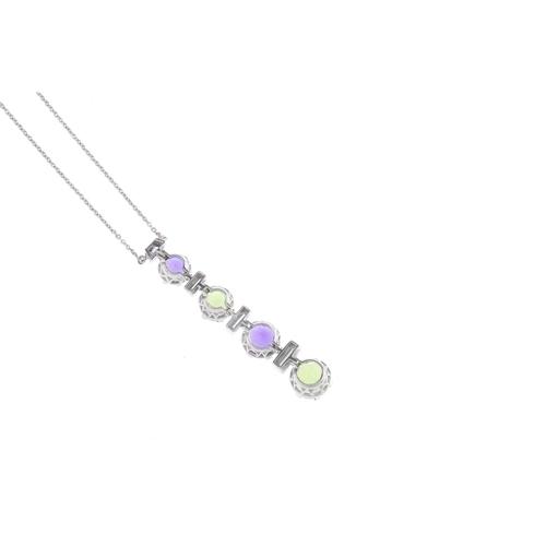 199 - A peridot, amethyst and diamond pendant. Comprising a graduated, alternating circular-shape peridot ...