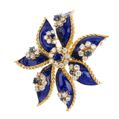 201 - KUTCHINSKY - a set of 1960s 18ct gold sapphire, diamond and enamel jewellery. The pendant designed a...