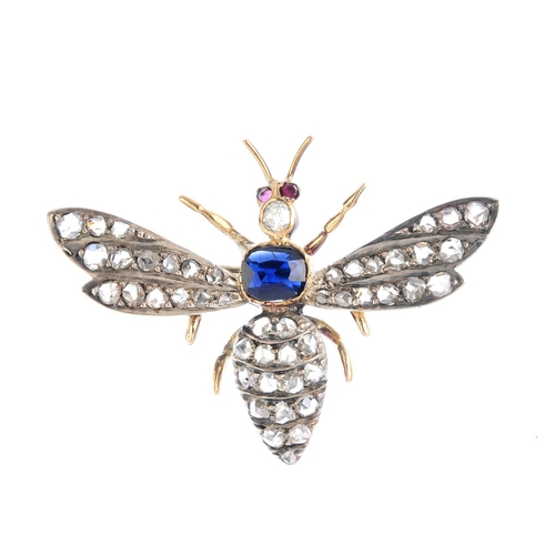 228 - A gem-set bee brooch. The rose-cut diamond bee, with cushion-shape sapphire thorax and diamond and r...