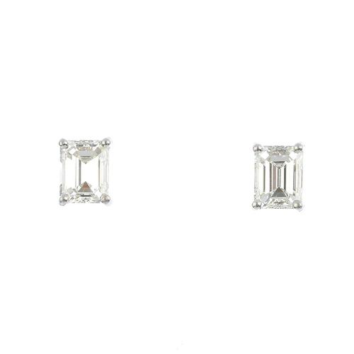 233 - A pair of rectangular-shape diamond stud earrings. Estimated total diamond weight 1.30cts, H-I colou...