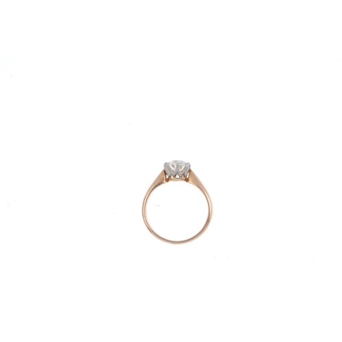 238 - A diamond single-stone ring. The old-cut diamond, with tapered shoulders. Estimated diamond weight 0...