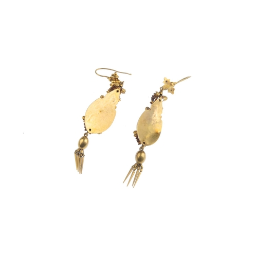 248 - A pair of mid Victorian gold gem-set earrings. Each designed as a tassel, suspended from a pear-shap...