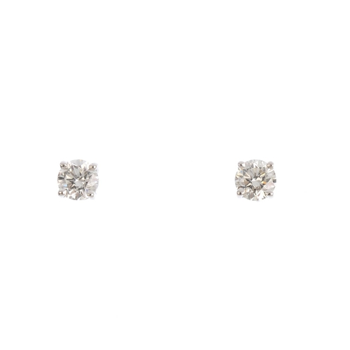 270 - A pair of 18ct gold brilliant-cut diamond stud earrings. Total diamond weight 0.50ct, estimated H-I ...