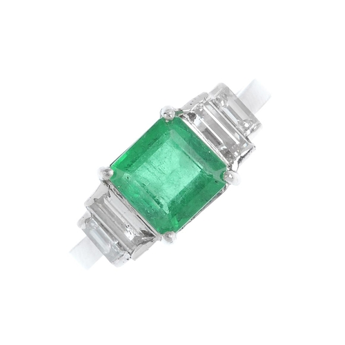 273 - A Colombian emerald and diamond ring. The square-shape emerald, weighing 1.45cts, with baguette-cut ...