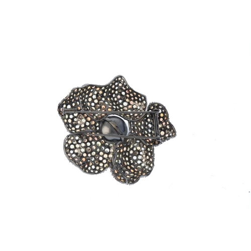 275 - A 'coloured' diamond, cultured pearl and gem-set floral brooch. The cultured pearl, measuring 15mms,...