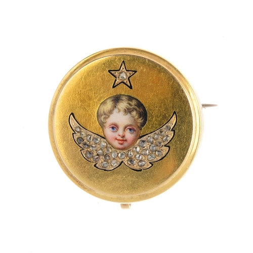 28 - A late Victorian gold, diamond and enamel cherub brooch. The painted enamel face, with rose-cut diam...