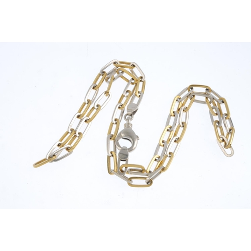 282 - A necklace. The bi-colour, curb-link chain, with lobster clasp. Length 62cms. Weight 57.9gms....