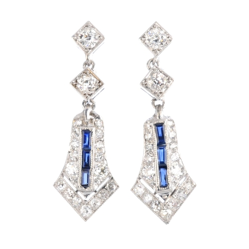 285 - A pair of sapphire and diamond earrings. Each designed as a calibre-cut sapphire and vari-cut diamon...