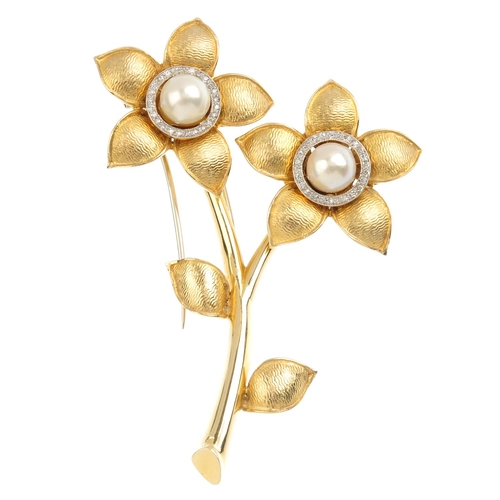296 - A mid 20th century diamond and cultured pearl floral brooch. Designed as two cultured pearl and sing...