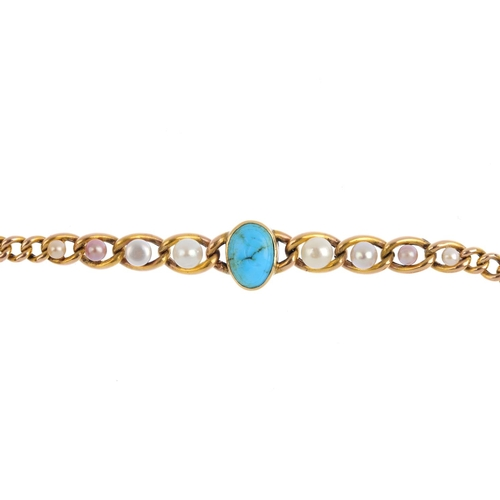 31 - An early 20th century gold turquoise and cultured pearl bracelet. The oval turquoise cabochon, engra...