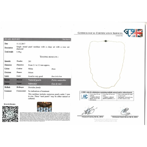 32 - A natural seed pearl single-strand necklace. Comprising a single-strand of 201 natural seed pearls, ...
