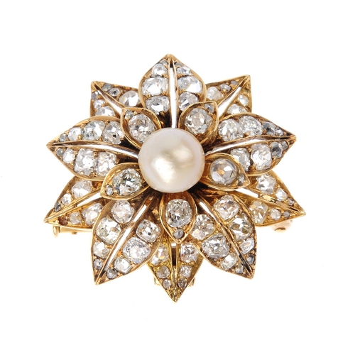 33 - A late Victorian natural pearl and diamond brooch. Of floral design, the natural bouton pearl, measu...