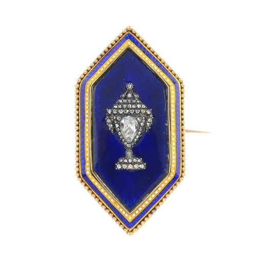 338 - A late Georgian gold diamond and enamel mourning brooch. Designed as a rose-cut diamond urn, set ato...