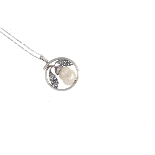 35 - A cultured pearl and diamond pendant. The baroque cultured pearl acorn, with rose-cut diamond cap an...