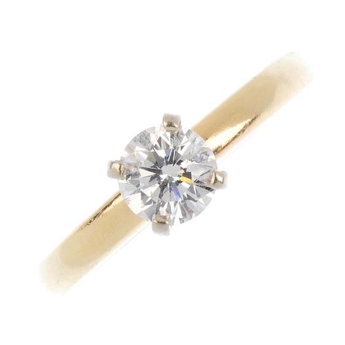 350 - A diamond single-stone ring. The brilliant-cut diamond, raised to the plain band. Estimated diamond ...