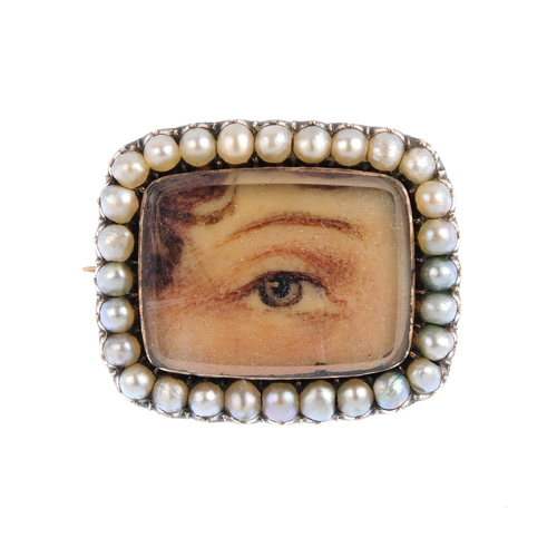 356 - An early 19th century gold gem-set brooch. Of rectangular-outline, the portrait depicting a lover's ...