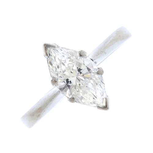 372 - An 18ct gold diamond single-stone ring. The marquise-shape diamond, with tapered shoulders. Diamond ...